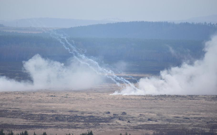 Smoke and artillery rounds barrage the target area during Exercise Dynamic Front on Wednesday, March 8, 2017.
