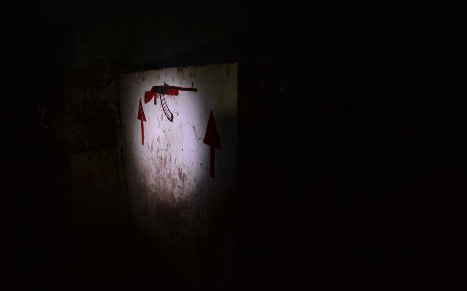 A wall obstacle in an underground Islamic State training camp in a railway tunnel is pictured here, Thursday, March 9, 2017. Iraqi forces uncovered the training base near Albu Saif as they pushed toward western Mosul in February in the campaign to retake the city's west side from the militants, who have occupied it since 2014.