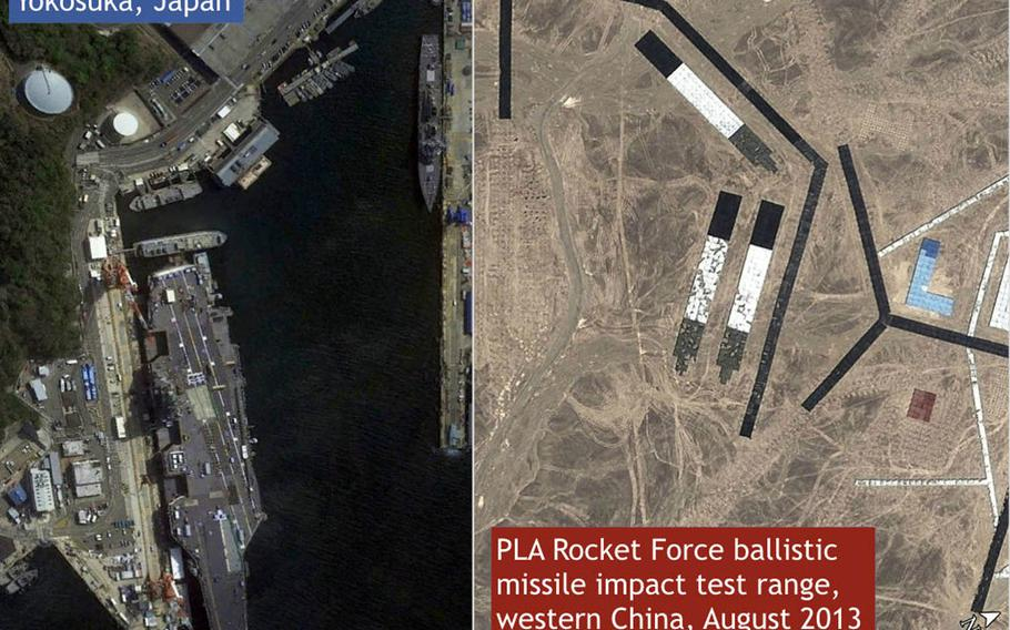 Satellite images show similarities between Yokosuka Naval Base, Japan, left, and a missile-test range in western China.