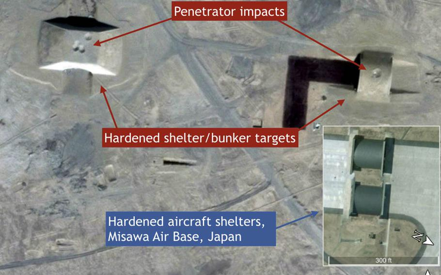 A Google Earth image shows the damage that Chinese missiles are capable of inflicting on hardened aircraft shelters that look a lot like those at Misawa Air Base, Japan.