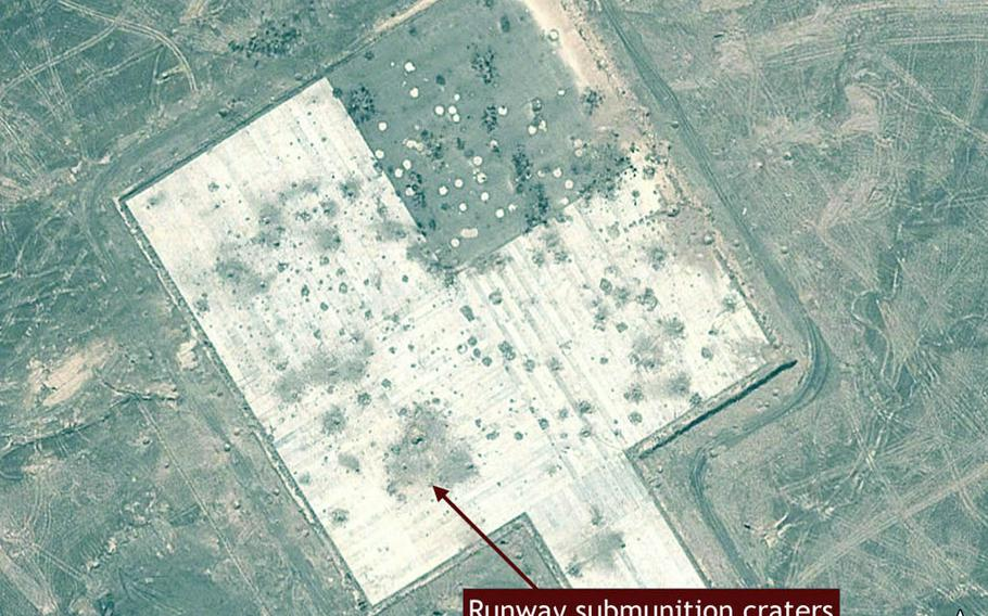 This Google Earth image of a Chinese missile-test range shows the damage the missiles can do to a runway.
