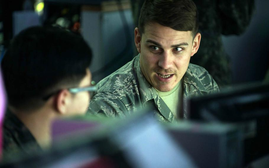 American and South Korean servicemembers take part in annual computer-simulated war games called Key Resolve at Osan Air Base, South Korea, March 9, 2016.