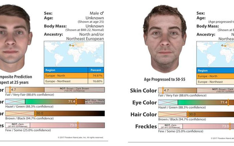 The composite images of a suspect in the murder of Spc. Darlene Krashoc, 20, outside Fort Carson, Colo., in 1987. The image was produced from DNA evidence that predicts how a suspect might look using ancestry information.