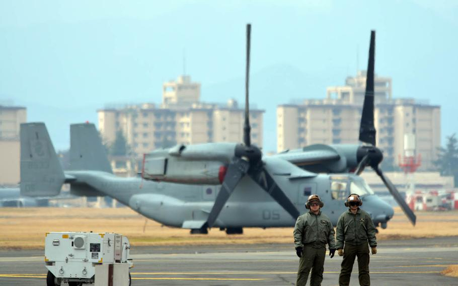 Okinawa-based Marine Corps MV-22B Ospreys visit Yokota Air Base, Japan, for an exercise, Tuesday, March 14, 2017.