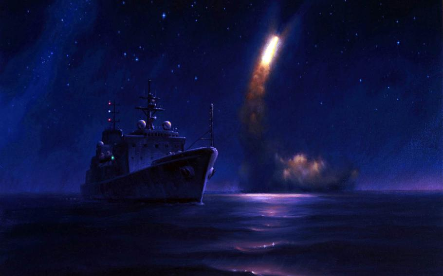 Morgan Wilbur, an artist with the Navy's Combat Art Program, completed this oil painting last year of a Trident II D5 Missile launching from the Ohio-class ballistic-missile submarine USS Kentucky.
