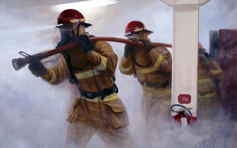 An oil painting by Kristopher Battles, an artist for the Navy's Combat Art Program.