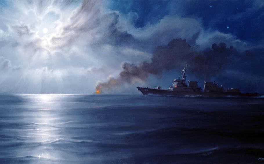 An oil painting by Morgan Wilbur of the Navy's Combat Art Program. Artists have been deploying with paints and brushes in hand since World War II to capture Navy history.