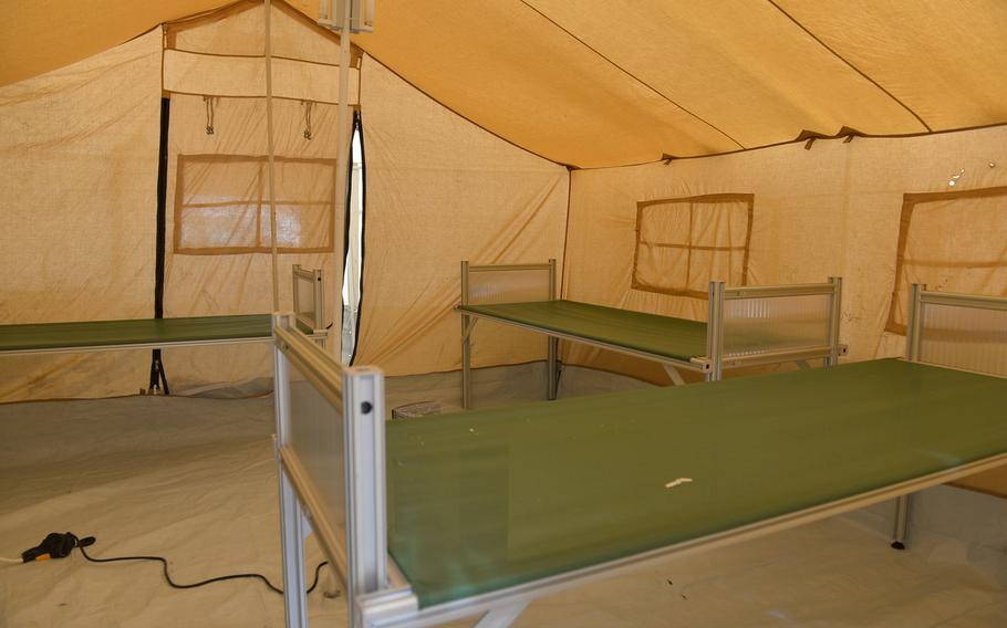 Pictured here on Saturday, March 11, 2017 is the inside of one of two tents set up outside the West Erbil Emergency Hospital to handle patients exposed to chemical agents.