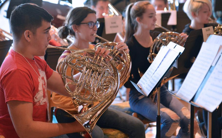The horns rehearse a song during sectionals at the DODEA-Europe Honors Music Festival, Tuesday, March 14, 2017.