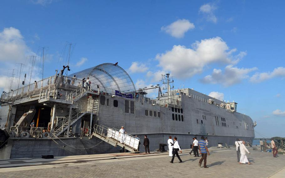 The USNS Fall River moors at Hambantota port in Sri Lanka as part of the Pacific Partnership 2017 exercise this month.