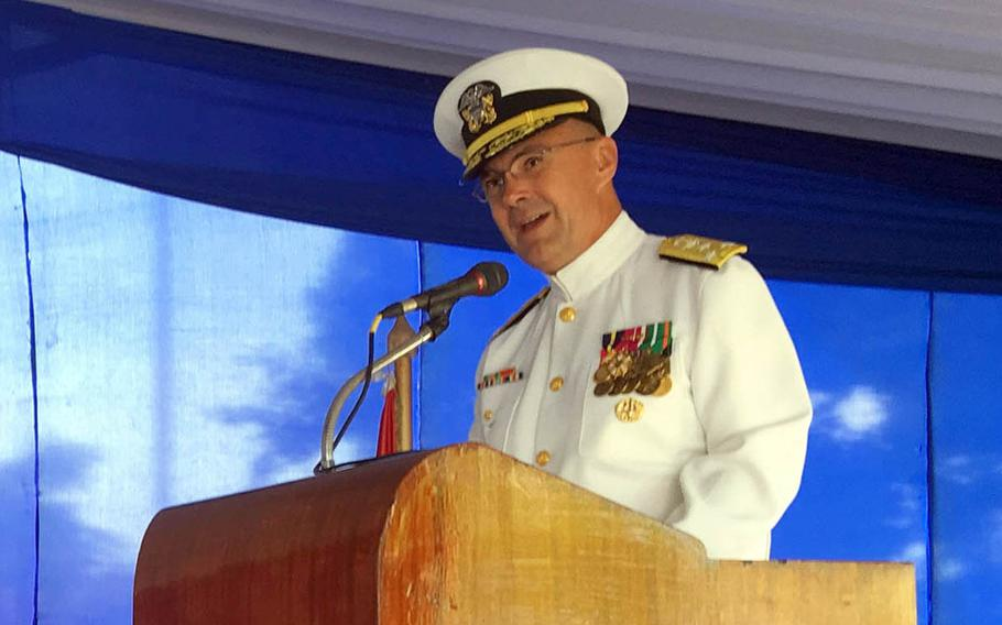 Navy Surgeon General Vice Adm. Forrest Faison speaks at a change-of-command ceremony in Cairo, Egypt, in September.