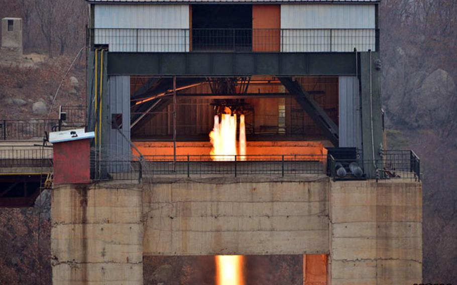 This undated photo from the Korean Central News Agency shows a rocket-engine test purportedly conducted over the weekend in North Korea.
