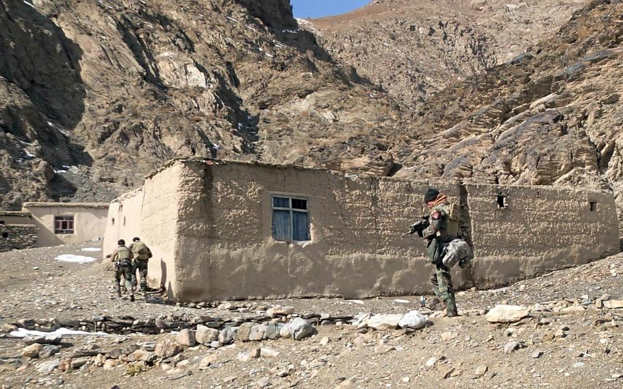 Afghan soldiers patrol Logar Province, Afghanistan, in 2014. A U.S. Special Forces soldier died there Sunday, March 19, 2017, in a noncombat-related incident, a Pentagon statement said.