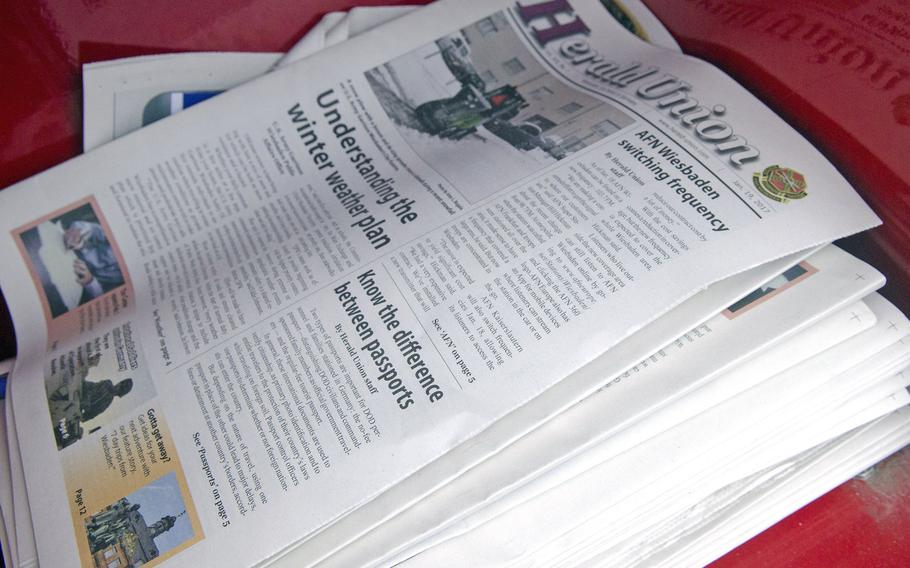 A copy of the Herald Union, official newspaper of U.S. Army Garrison Wiesbaden, on display in a kiosk. The Herald Union and fellow garrison paper the Stuttgart Citizen will no longer be available in print after their next editions, respectively March 30 and 23, 2017.