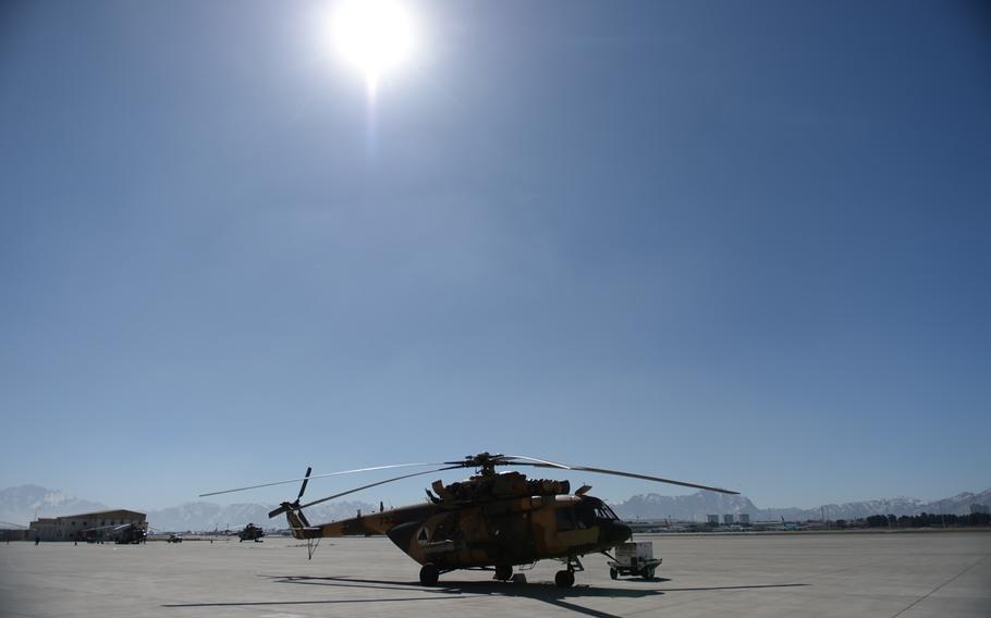 A Mi-17 helicopter at Kabul military airport on Feb. 21, 2017. The U.S. Defense Department would like to replace Afghanistan's fleet of Russian-made Mi-17s with U.S.-manufactured Black Hawks.