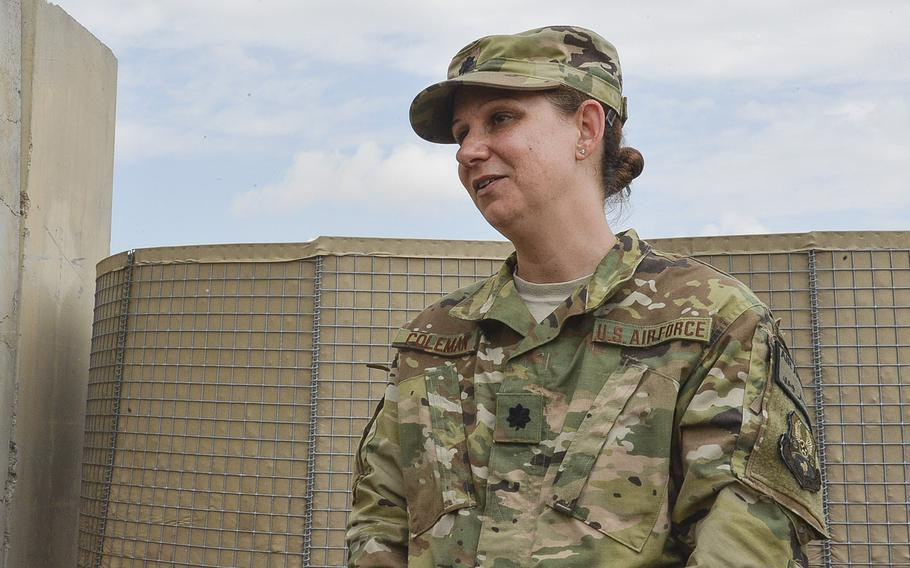 Lt. Col. Carrie Coleman, commander of the 370th Air Expeditionary Advisory Group detachment, speaks to reporters on Qayara Airfield West, Iraq, on March 17, 2017. Coleman said her unit's mission is to keep keep cargo and people flowing through the base's aerial port while also training the Iraqis to eventually operate it fully themselves.