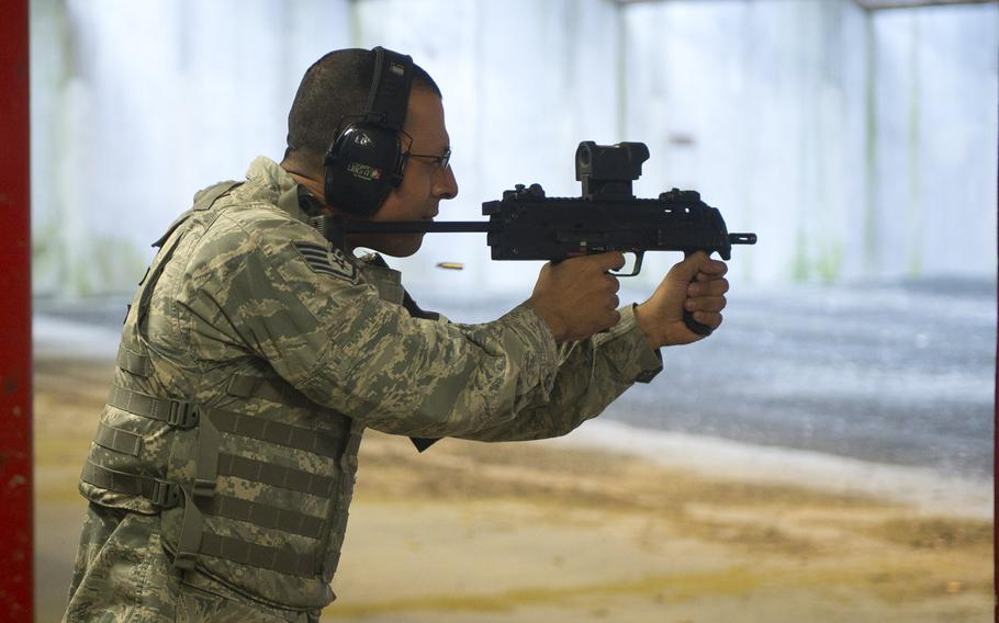 Staff Sgt. Manuel Amaya fires an MP7 at the Vogelweh firing range in Kaiserslautern, Germany, on Thursday, March 23, 2017.