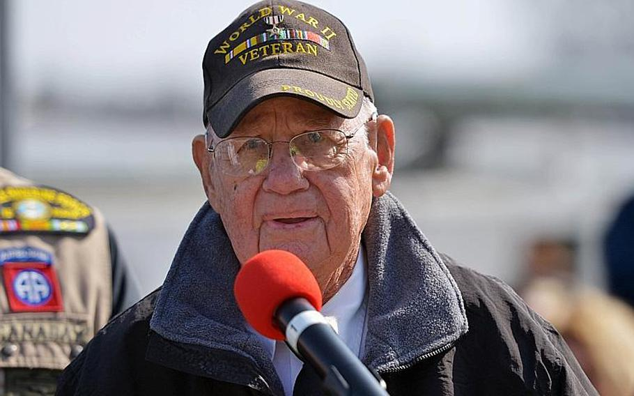 Robert Shelato, a World War II veteran of the 249th Engineer Battalion, tells of his experiences of building the bridge across the Rhine in March 1944 during the dedication ceremony for the Rhine River crossing monument in Nierstein, Germany, Saturday, March 25, 2017.
