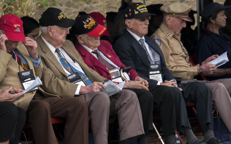 Veterans of World War II's Battle of Iwo Jima attend a ceremony marking the battle's 72nd anniversary, Saturday, March 25, 2017, on the Japanese island now known as Iwo To.
