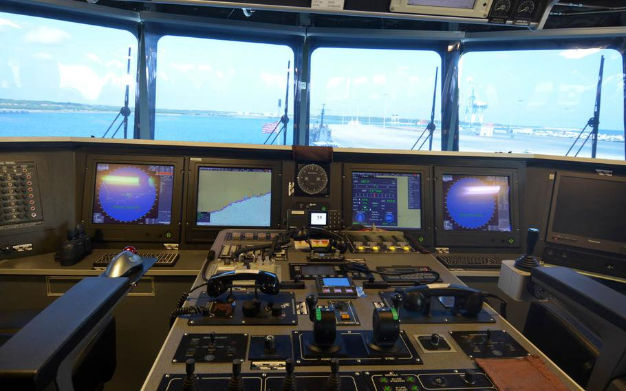A view from the bridge of the USNS Fall River while moored at Hambantota's port in Sri Lanka, March 8, 2017. The servicemembers embarked are being transported primarily by civilian mariners working for the Navy's Military Sealift Command.