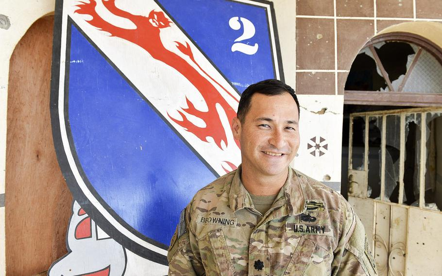 Lt. Col. James Browning, commander of 2nd Battalion, 508th Parachute Infantry Regiment, 2nd Brigade Combat Team, 82nd Airborne Division, is pictured here on March 2, 2017, in front of the regimental coat of arms at a tactical base south of Mosul, Iraq, where his unit is advising Iraqi forces in the battle for Mosul.