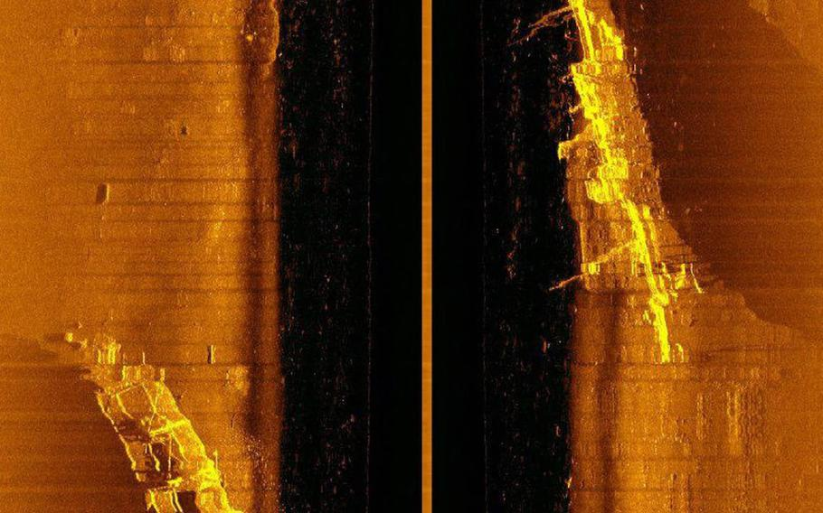 A sonar screenshot of the wreck of the Japanese freighter Tateyama Maru, which sank in Kwajalein Atoll during World War II.