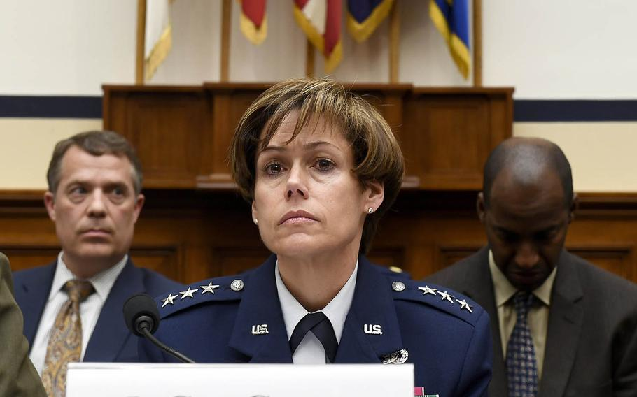 Lt. Gen. Gina Grosso, the Air Force's deputy chief of staff for personnel, testifies before the House Armed Services Committee on Social Media Policies for the Military Services, March 21, 2017, in Washington, D.C.