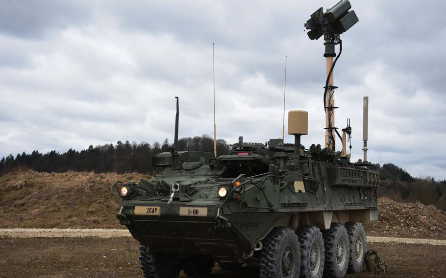 One version of the Combat Unmanned Aerial Systems Mobile Integrated Capabilities (CMIC) Stryker, still in testing, in Grafenwoehr, Germany, Tuesday, March 21, 2017.