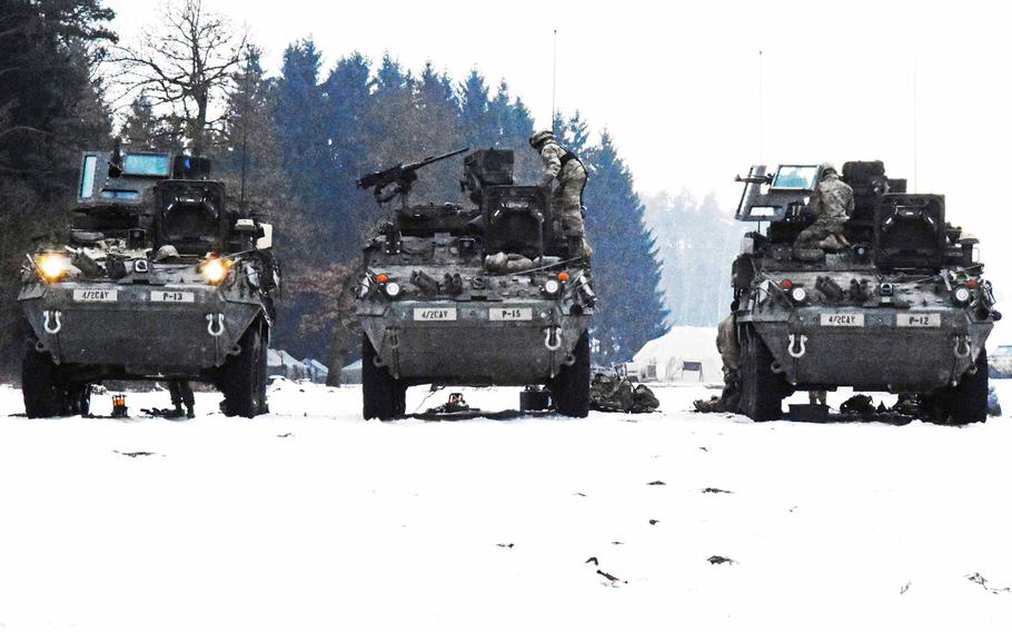 Three Infantry Carrier Vehicle Strykers currently in use by the Army's 2nd Cavalry Regiment in February 2017.