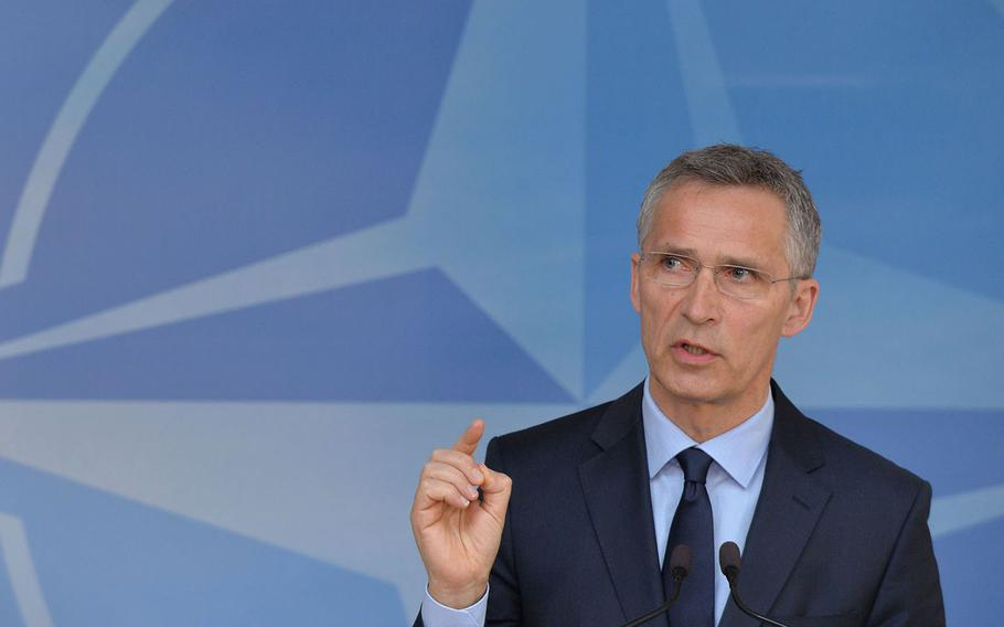 NATO Secretary-General Jens Stoltenberg talks to the media ahead of the meetings of NATO Foreign Ministers in Brussels, Belgium, Friday, March 31, 2017.