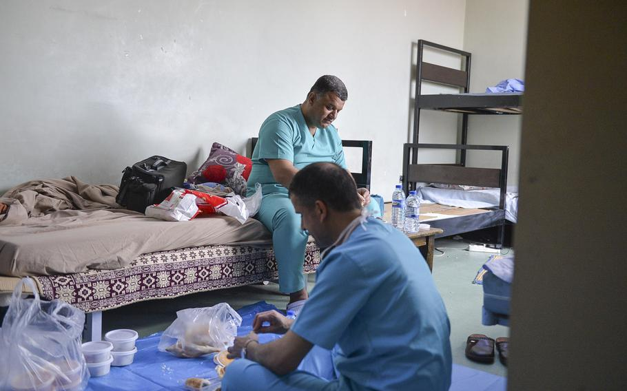 Staff of the operating room at the West Irbil Emergency Hospital in Iraq take a lunch break, March 11, 2017. New facilities and groups treating the wounded from the fight for Mosul, about 50 miles west of Irbil, are relieving some of the strain at the emergency hospital, which was built by the U.S. Army Corps of Engineers.