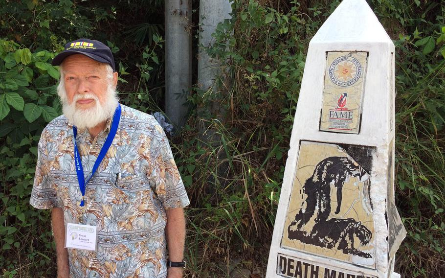 In 1942, Oscar Leonard, 98, escaped the Bataan peninsula by swimming to the island of Corregidor while holding onto a floating log. The U.S. veteran returned to the Philippines and walked portions of the death march trail on Saturday, April 8, 2017.