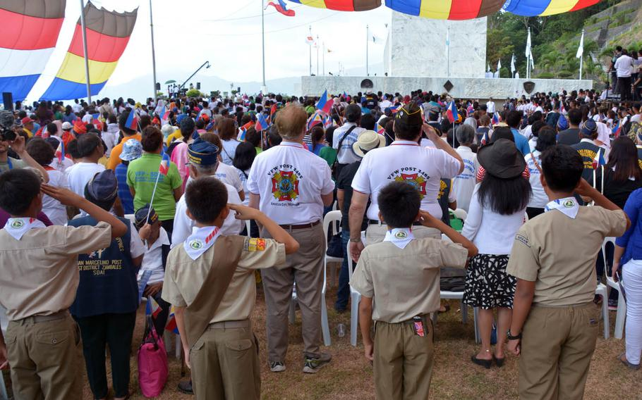Battle of Bataan survivors were honored at a ceremony marking the 75th anniversary of the surrender of the peninsula, Sunday, April 9, 2017, in Bataan, Philippines.