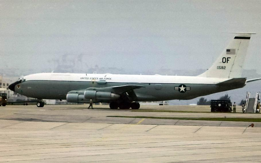 An Air Force WC-135 Constant Phoenix, which is commonly referred to as a nuke-sniffer, arrived at Kadena Air Base, Japan, Friday, April 7, 2017.
