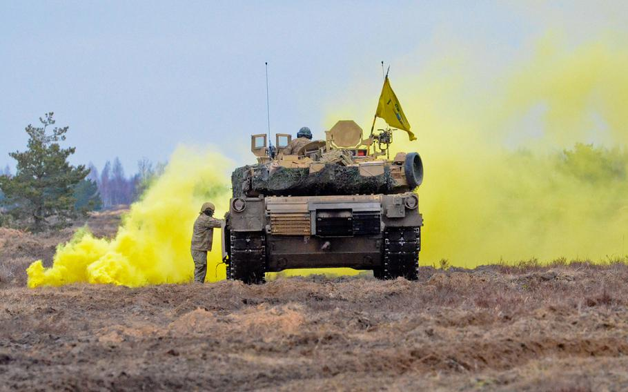 Soldiers from 3rd Armored Brigade Combat Team, 4th Infantry Division, conduct a tank live-fire and react-to-fire exercise on Adaui military base, Latvia, as a part of Operation Atlantic Resolve, Sunday, April 9 2017. Four soldiers are in good condition after being treated for carbon monoxide exposure when their M1A2 Abrams tank malfunctioned on an exercise, the military said.