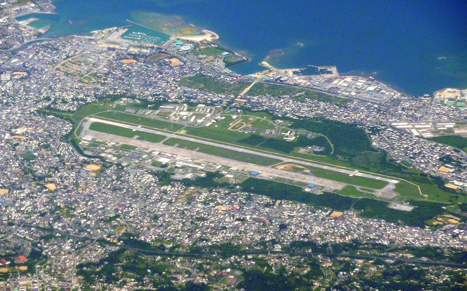 An aerial view of Marine Corps Air Station Futenma on Okinawa, Japan.