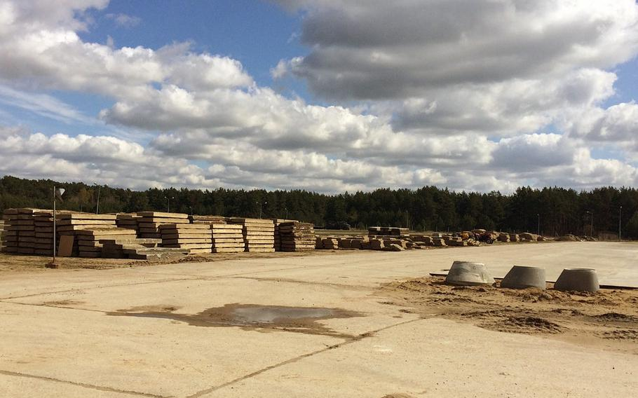 New vehicle lots at Drawsko Pomorskie Training Area, Poland, will enable the base to host up to two combined arms battalions' worth of heavy vehicles on site once complete.