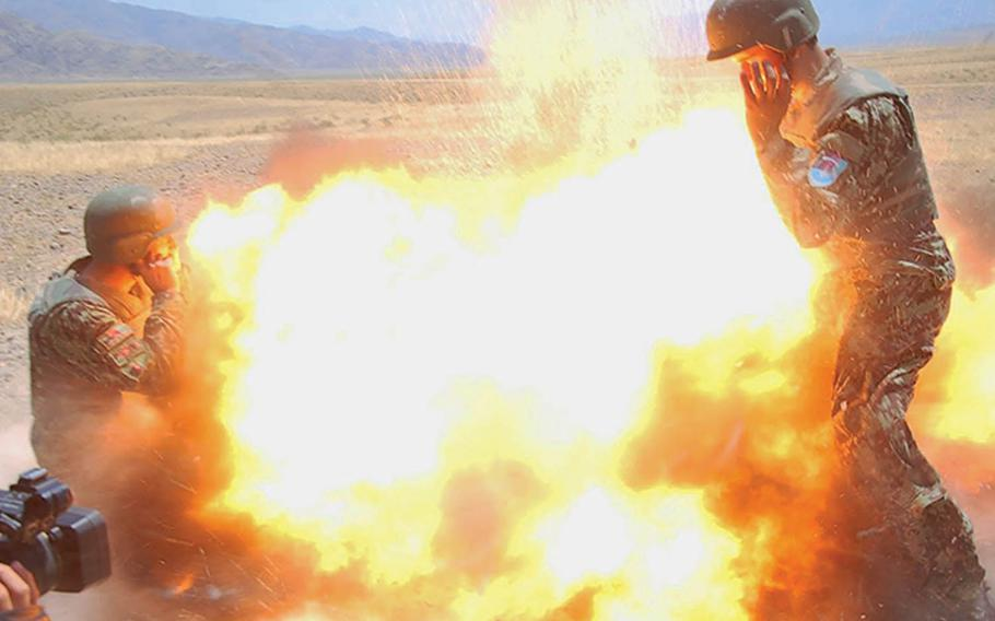 A mortar tube accidentally explodes during an Afghan National Army live-fire training exercise in Laghman province, Afghanistan, July 2, 2013. The blast killed Army Spc. Hilda Clayton and four Afghan soldiers.