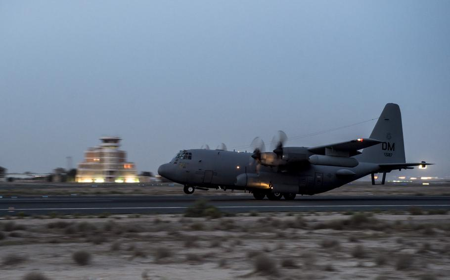 An EC-130H Compass Call at an undisclosed location in Southwest Asia takes off for a mission supporting the campaign against the Islamic State in Iraq and Syria, March 21, 2017.