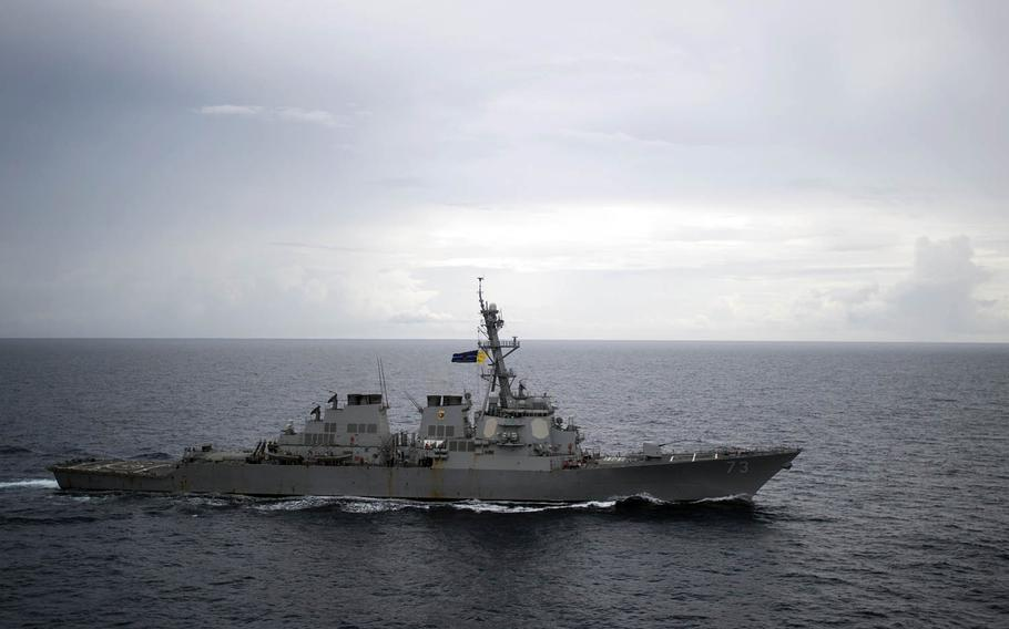 The guided-missile destroyer USS Decatur transits the South China Sea as part of the Bonhomme Richard Expeditionary Strike Group, Oct. 13, 2016.
