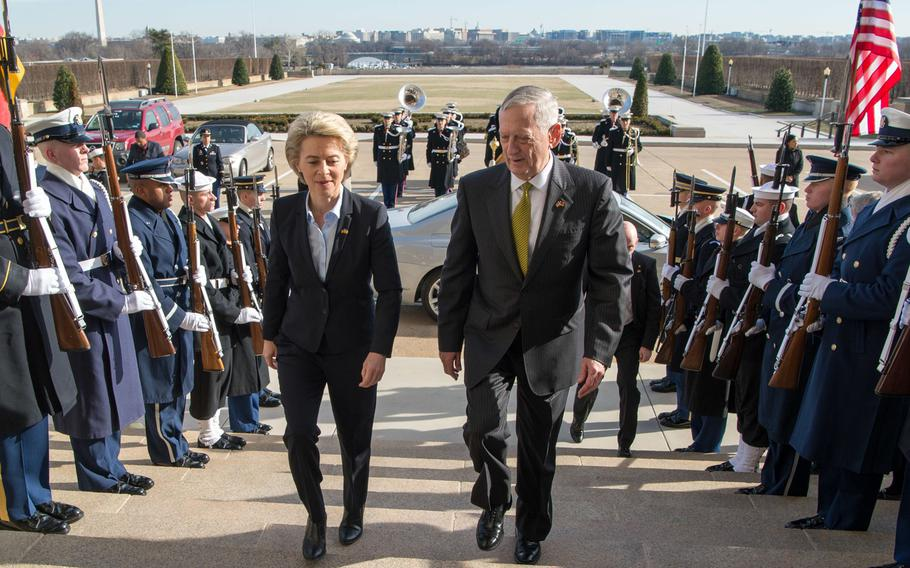 Secretary of Defense Jim Mattis meets with Ursula von der Leyen, Germany's defense minister, at the Pentagon in Washington on Feb. 10, 2017. Von der Leyen has vowed to reform the German military after the arrest of two soldiers alleged to have plotted a terrorist attack and blame it on refugees.