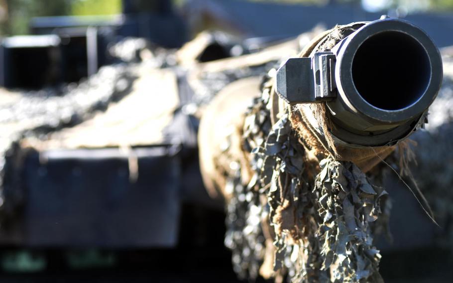 Down the barrel of a German Leopard 2A6 tank participating in the Strong Europe Tank Challenge at Grafenwoehr, Germany, Thursday, May 11, 2017.