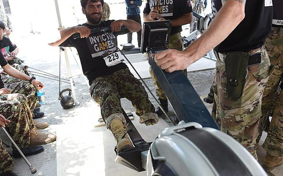 A wounded Afghan soldier competes on a rowing machine for a chance to join Afghanistan?s team for the 2017 Invictus Games, at Resolute Support headquarters in Kabul, Afghanistan, Saturday, May 13, 2017.