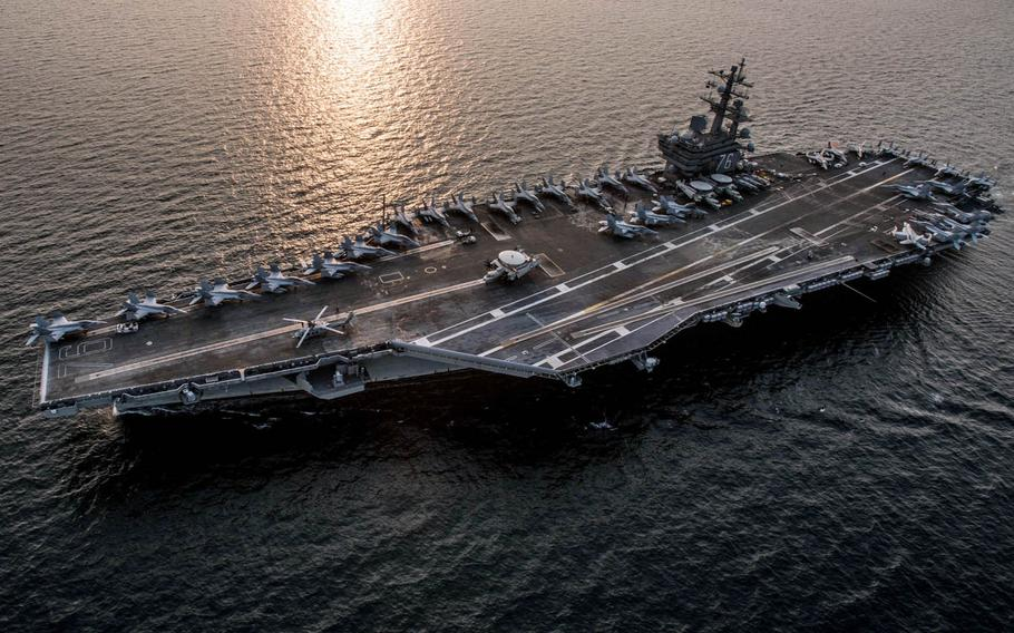 The aircraft carrier USS Ronald Reagan transits waters surrounding the Korean peninsula during Exercise Invincible Spirit in October.