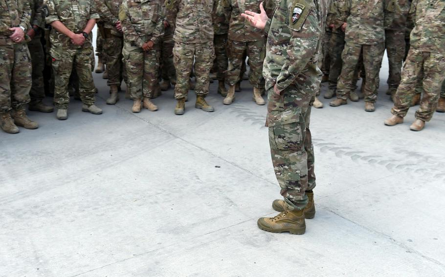 Gen. John Nicholson, commander of U.S. forces in Afghanistan, visited troops serving with NATO Special Operations Component Command-Afghanistan, at Bagram Air Field, on Saturday, May 13, 2017. The soldiers' faces could not be displayed for security reasons.