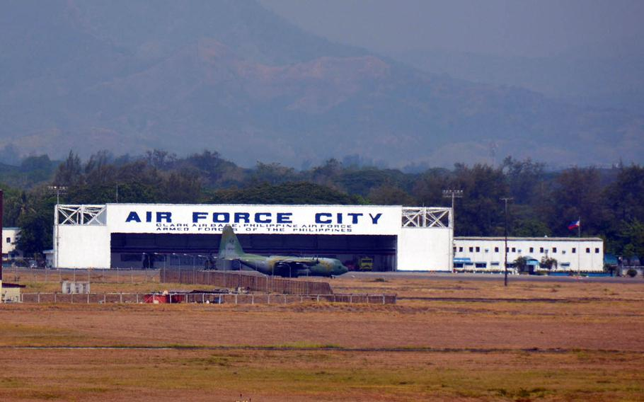 Military planes are pictured at Clark Air Base, Philippines, April 11, 2017.