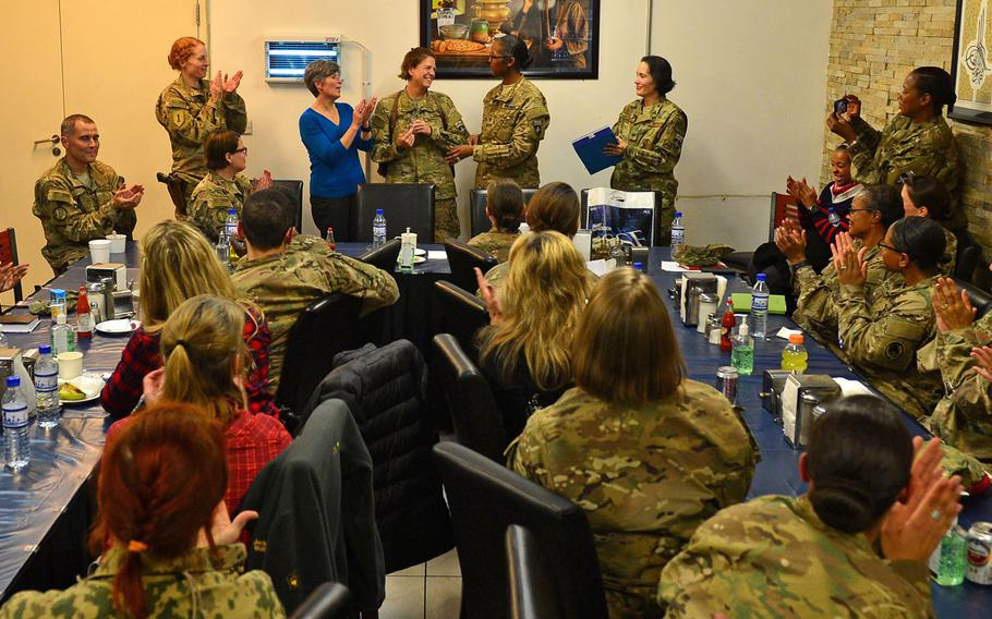 Sen. Joni Ernst, R-IA (center, in blue), a former Iowa Army National Guard officer who served in Kuwait during Operation Iraqi Freedom, visited a Sisters in Arms meeting at Resolute Support headquarters in Kabul, November 23, 2016.
