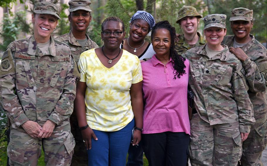 Members of the Sisters in Arms group at Resolute Support headquarters, Kabul, May 19, 2017. From left: Command Chief Master Sgt. Lisa Arnold; Col. Antoinette Gant; Lisa Spell, realty officer; Linda Eluma-Plummer, RS CJ2; Sandra Cousin, Defense Logistics Agency; Australian Capt. Stephanie Sheldon; Lt. Col. Jodi Bonnes; and Col. Tammy Heath.