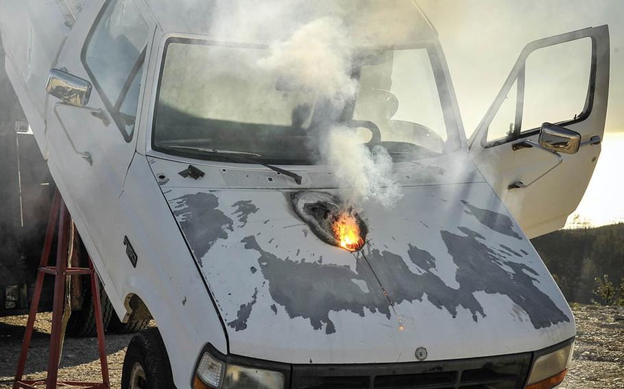 The ATHENA laser burned through a truck's hood and disabled its engine in seconds from a mile away, according to its maker, Lockheed Martin.