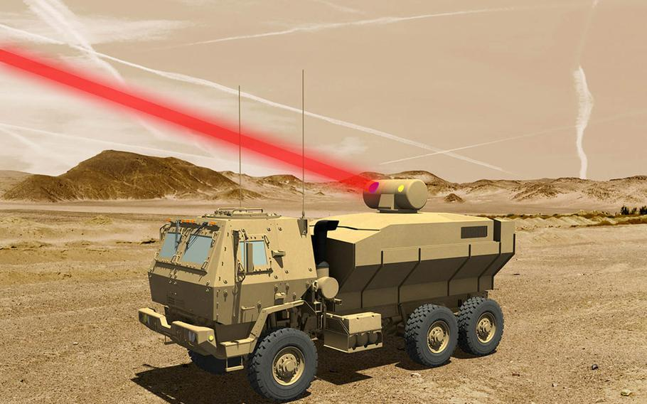 This is what a 60-kilowatt laser might look like when mounted on an Army truck, according to Lockheed Martin.